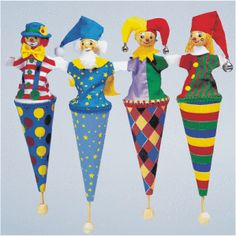 Set of Four 4 Large Wooden Pop Up Cone Puppets Jester Clown Wizard Toys | eBay