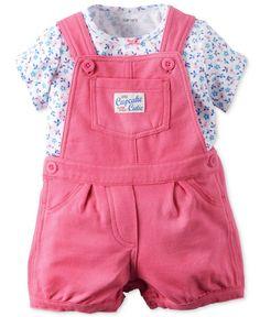 Carter's Baby Girls' 2-Piece Floral-Print T-Shirt & Shortall Set