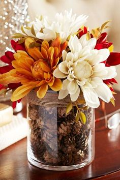 Fall Blooms in a Pinecone-Filled Vase