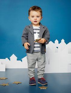 Conjunto com camisola + casaco + e calças, para bebé menino