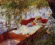 """John Singer Sargent -       """"Two Women Asleep in a Punt under the Willows"""", 1887"""
