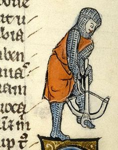 Crossbowman in armor drawing string on a field crossbow. Manuscript Morgan Bible with prologues Folio Dating From North, Francia Holding Institution . Medieval Crossbow, Medieval Armor, Medieval Fantasy, Medieval Manuscript, Illuminated Manuscript, Illuminated Letters, Renaissance, Bayeux Tapestry, High Middle Ages