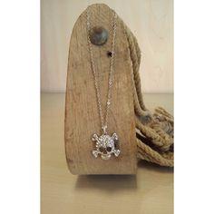 Cross Bones Skull Necklace - clear
