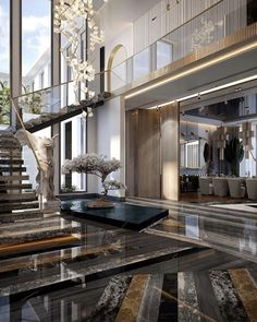 Home Stairs Design, Home Room Design, Dream Home Design, Modern House Design, Villa Design, Dream House Interior, Luxury Homes Dream Houses, Modern Mansion Interior, Modern Entryway
