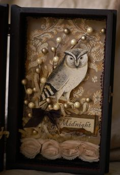 Shadowbox - mixed prints and elements Altered Tins, Altered Art, Shadow Box Art, Shadow Book, Paper Art, Paper Crafts, Owl Pictures, Bird Crafts, Assemblage Art