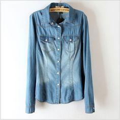 667e6025d la mujer casual diseñado turndown jean de mezclilla blusas camisa de manga  larga tops