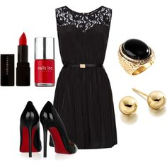 LBD with Louboutins. Perfection, but just not with the gold accents. I can't pull off gold.