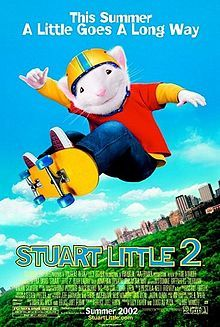 Stuart Little 2 is a 2002 American live-action/CGI animated film directed by Rob Minkoff. It stars Geena Davis, Hugh Laurie, and Jonathan Lipnicki and the voices of Michael J. Fox, Nathan Lane, Melanie Griffith, James Woods, and Steve Zahn.