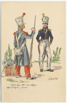 French; Line Infantry, Voltigeur Officer & Grenadier, Campaign Uniform 1831 by H.Boisselier