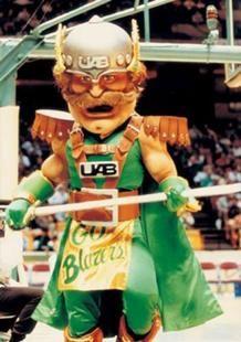 Blazer, a former UAB Blazers mascot resembling a Nordic/Viking warrior (1993).