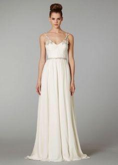 $256.00 Buy Chic Column V-neck Chapel Train Chiffon Wedding Dress 2013 with Appliques and Beading-HuLu