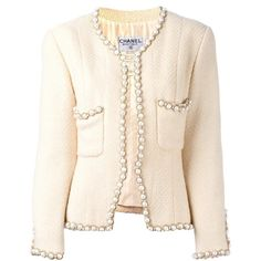 Chanel Vintage faux pearl trim jacket ($3,666) ❤ liked on Polyvore featuring outerwear, jackets, white, white jacket, vintage jackets, white collarless jacket, collarless jackets and chanel