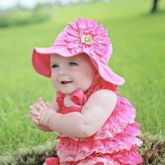 Strawberry Pink Baby Girl Sun Hat with Pink Daisy #Melondipity