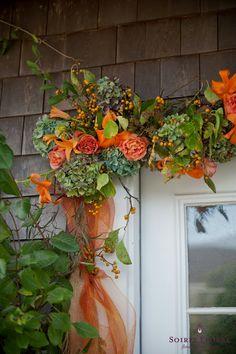 Fall Door Garland by Soiree Floral www.soireefloral.com #fall #garland #orange #ribbon #autumn #door