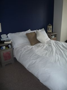 Bedroom Transformation – Calming Grey and Moody Dark Blue Blue Feature Wall, Between The Sheets, Attic Rooms, Spare Room, Paint Colors, Living Room, Chronic Illness, Architecture, Cosy