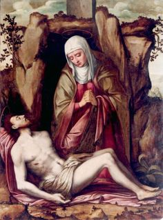 Gaspar Becerra (Baeza, 1520 - Madrid, 1570). Piedad. 1560. Óleo sobre tabla. 143,5 x 105,5 cm. Procedencia: Donación de Mercedes de la Cuadra Oliag (2001).