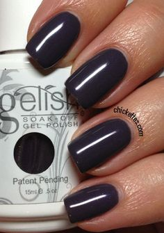 Gelish Gel Nails in Jet Set. Color swatch collections.