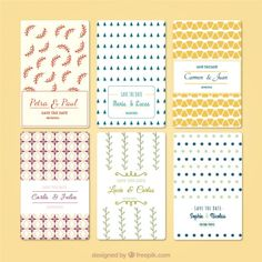 Variety of wedding invitations Free Vector