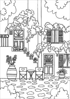 Greek house - Architecture and Living Coloring Pages for Adults - Just Color House Colouring Pages, Flower Coloring Pages, Coloring Book Pages, Printable Coloring Pages, Embroidery Art, Embroidery Patterns, City Sketch, Drawing Sheet, Free Adult Coloring Pages