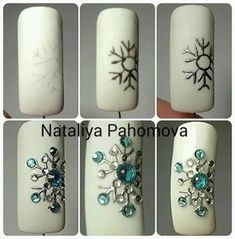 Christmas Nail Designs - My Cool Nail Designs Winter Nail Designs, Winter Nail Art, Christmas Nail Designs, Christmas Nail Art, Winter Nails, Nail Art Designs, Christmas Snowflakes, Rhinestone Nails, Bling Nails
