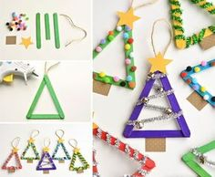 Are you in the mood to make some cute and fun Christmas tree crafts? We've rounded-up 45 DIY Christmas tree ideas that you can try to make with your kids. Popsicle Stick Christmas Crafts, Stick Christmas Tree, Christmas Decorations For Kids, Christmas Crafts To Make, Diy Christmas Ornaments, Simple Christmas, Kids Christmas, Holiday Crafts, Popsicle Sticks