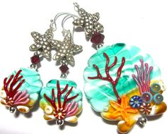 Scallop Shell Lampwork Earrings and Pendant by SeeMyJewelry, $100.00
