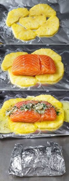 This honey lemon garlic butter salmon is a breeze to make and the method of cooking it all together in a foil pouch seals in moisture and keeps the sweet aroma intact. A no-fuss weeknight dinner wi… food Lemon Garlic Butter Salmon in Foil with Pineapple Fish Recipes, Seafood Recipes, Cooking Recipes, Healthy Recipes, Recipies, Cooking Corn, Healthy Food, Sandwich Recipes, Healthy Chicken