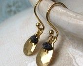 Archeologist Earrings Rough Black Diamonds Brass Hammered Drops Black and Gold Jewelry