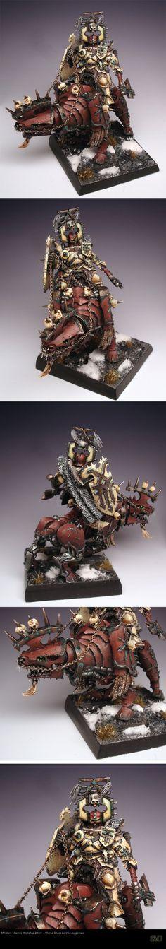 GW Khorne Chaos Lord on Juggernaut  miniature for #Warhammer Fantasy Battles