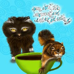 Purr about this MEOWment and embrace adventure.  What my Coffee says to me February 25 - drink YOUR life in - caturday fun PURRade of coffee, love and life. Celebrate small and large adventures and live in the meowment. Purr! (What my Coffee says to me is a daily, illustrated series created by Jennifer R. Cook for your mental health) #coffee #coffeeart #coffeelovers #art #mentalhealth #meowment #purr #caturday #illustration #creativity #adventure #embrace #love #life #fun #celebratelife