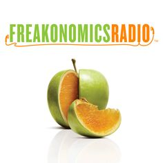 Freakonomics Radio Top 10 podcast, probably top five in all categories. This is a great example of subtle cleverness. Still fairly easy to read show name, though the green gets lost when its small, especially since its a made up word.