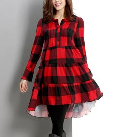 Another great find on #zulily! Red Buffalo Check Button-Front Dress #zulilyfinds