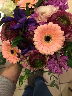 Ranunculus, purple, hjacintus bouquet