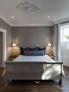 Contemporary Master Bedroom With Sleigh Bed York Wallpaper Grasscloth Wallpaper Crown Molding Laminate Floors