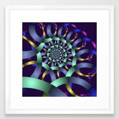 The turquoise spiral Framed Art Print