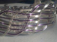 Purple and Silver wire weaved bracelet by gr8byz on Etsy