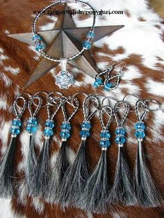 Hair Jewelry Tangled Tails by PonyGurl Keychains and Keepsake jewelry necklace earrings horse hair concho Horse Hair Bracelet, Horse Hair Jewelry, Beaded Bracelet Patterns, Beaded Jewelry, Gold Jewellery, Horse Hair Braiding, Hair Keepsake, Horse Tail, Horse Gifts