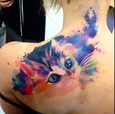 Adam Kremer watercolor kitten tattoo