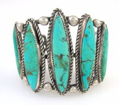 Old Pawn Navajo Sterling Silver & Turquoise Cuff Bracelet Signed | RS LX