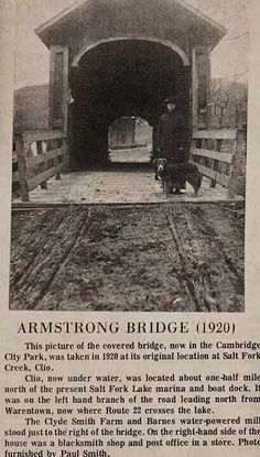 History of the Armstrong Bridge, currently located in the City Park.
