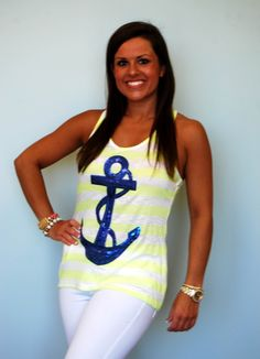 Sequin Anchor Tank in Blue