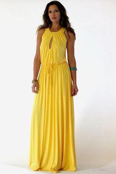 Yellow Maxi Jersey Summer Dress