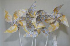 Wedding favor Yellow/Grey 12 Mini Pinwheels Custom by aubabi78, $12.00