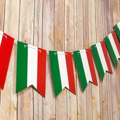 Italian Flag Italy Country Pattern Guidon Pennant Banner Garland from PaperLanternStore at the Best Bulk Wholesale Prices. Italian Party Decorations, Paper Decorations, Mexican Flags, Mexican Flag Colors, Paper Pom Poms, Pennant Banners, Italy Country, Republic Day, Flag Decor