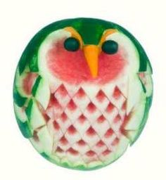 watermelon owl carving