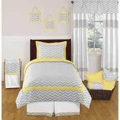 The 4-piece zigzag twin bedding collection will add instant zest to your bedroom. This stylish twin bedding set boasts a modern grey and white zigzag print. The gorgeous color palette of muted grey, y