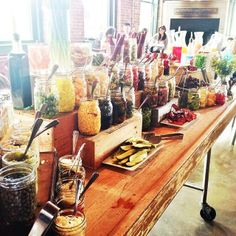bloody mary bar; could make any sort of bar with the large mason jars