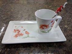 Porcelana Pintada a mão com colher bordada  #talheresbordadosartssel