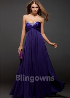 Zipper Sweetheart Chiffon Crystals Ruched Floor Length Purple Sleeveless A-line Evening / Prom Dresses