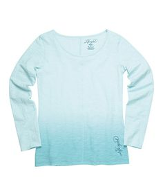 Look what I found on #zulily! Blue Fade-Out Dip-Dye Long-Sleeve Tee #zulilyfinds